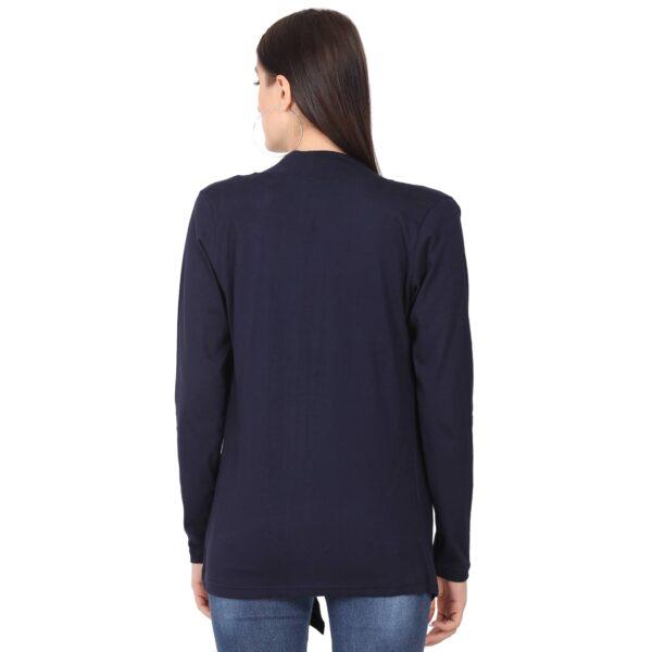 Women Full Sleeve Navy Blue Shrug