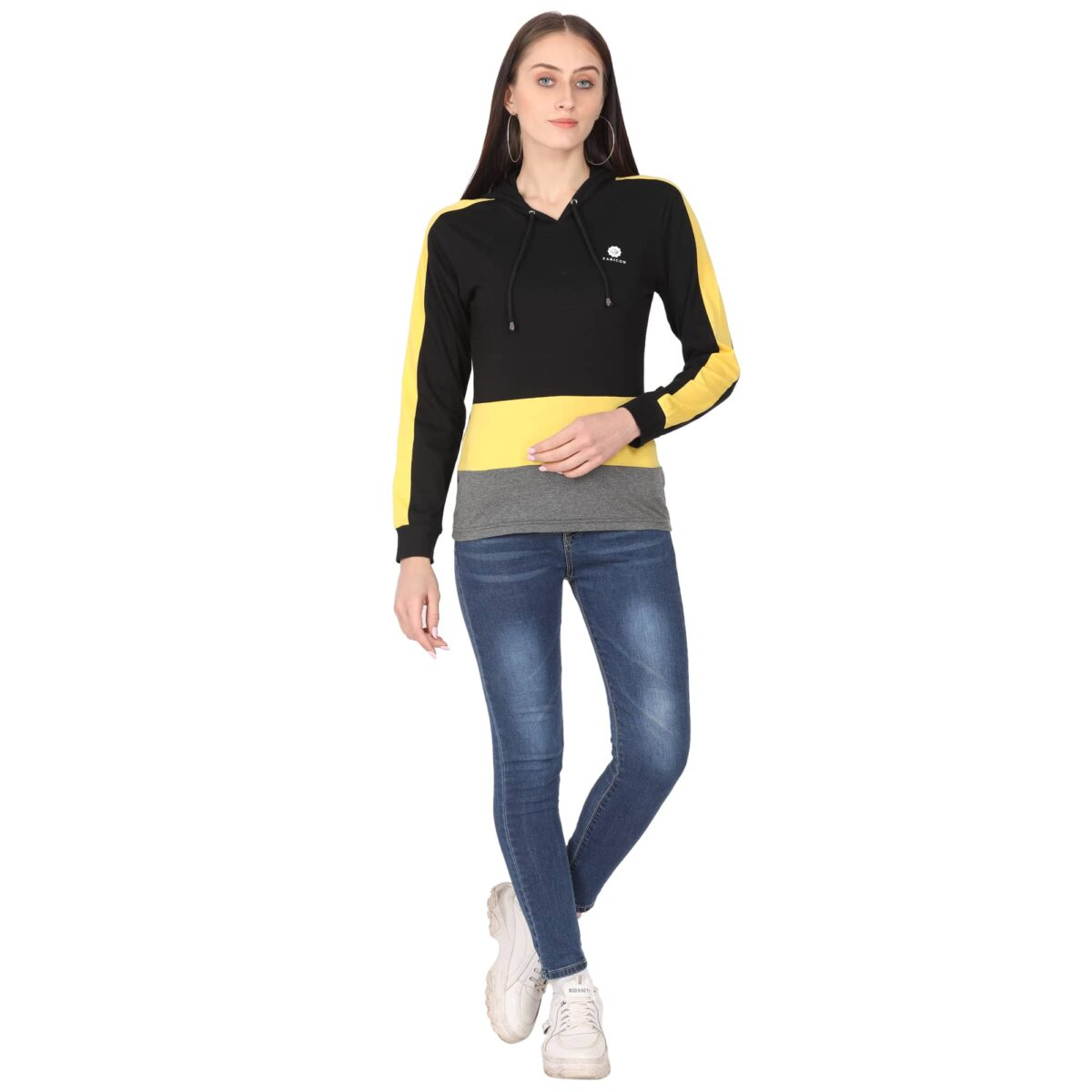 Women Solid Hooded Neck T-Shirt