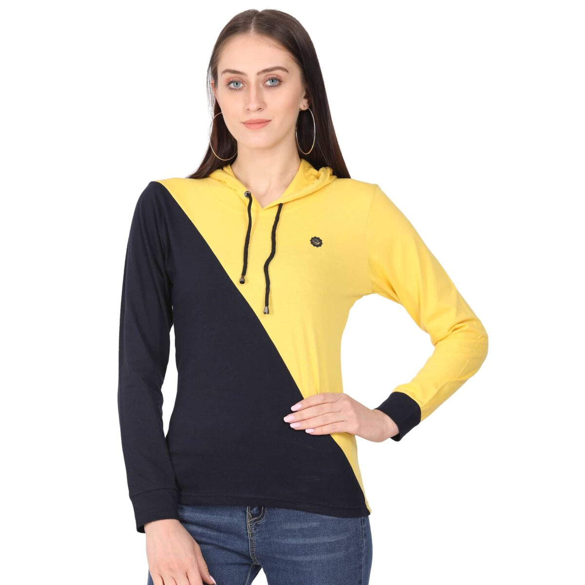 Solid Women Hooded Neck T-Shirt