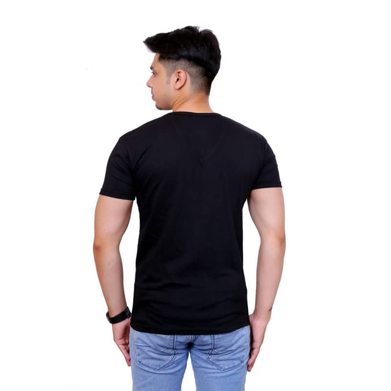 Solid Men V Neck Black Short Sleeve T-Shirt - Faricon