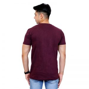 Solid Men V Neck Purple Short Sleeve T-Shirt - Faricon