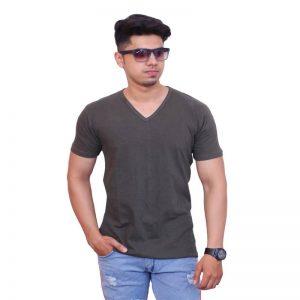 Solid Men V Neck Brown Short Sleeve T-Shirt