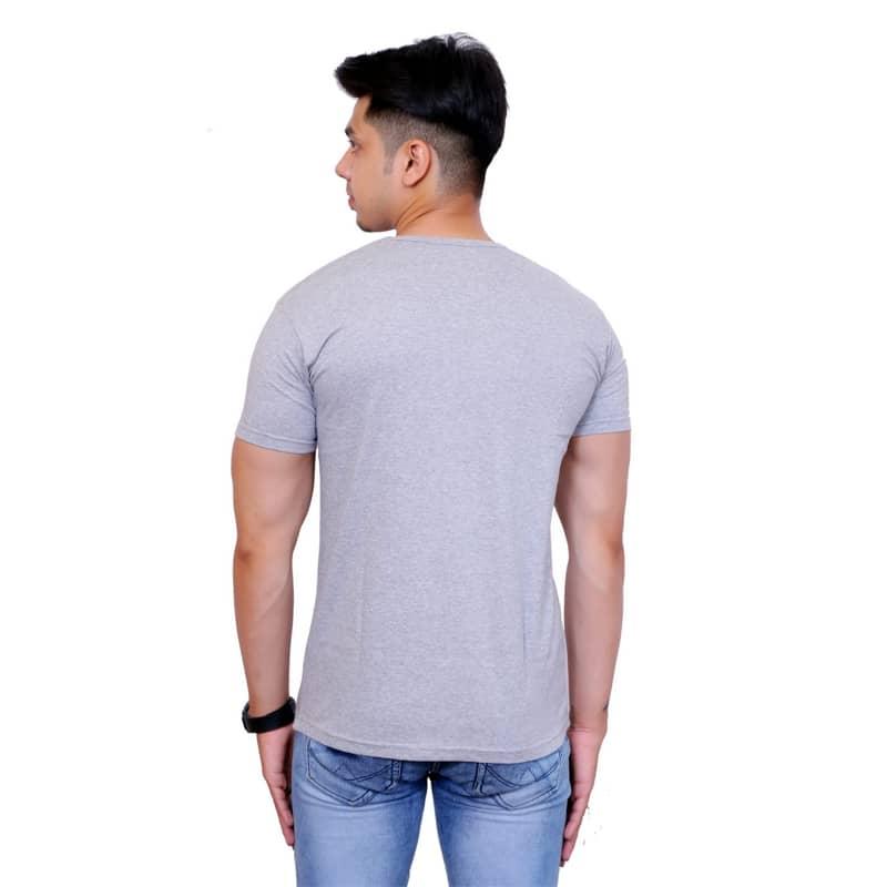 Solid Men V Neck Gray Short Sleeve T-Shirt - Faricon