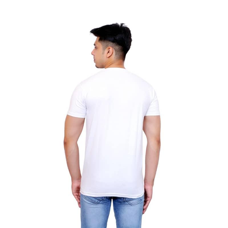 Solid Men V Neck White Short Sleeve T-Shirt - Faricon