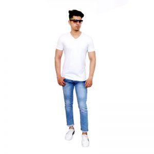 Solid Men V Neck White Short Sleeve T-Shirt