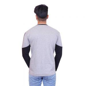 Color Block Men Henley Neck Black, Grey T-Shirt