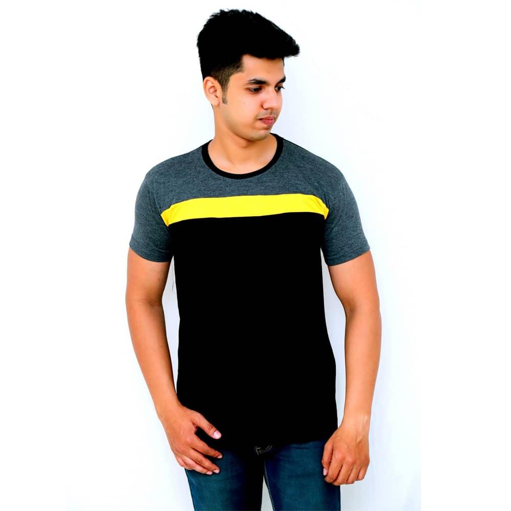 Color Block Men Round Neck Black T-Shirt