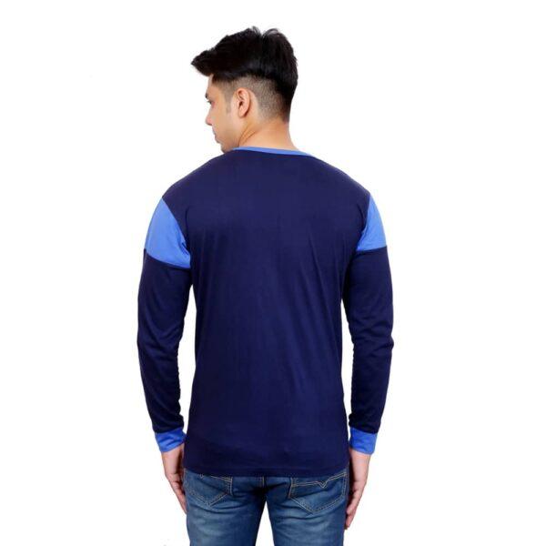 Full Sleeve Men Round Neck Navy Blue T-Shirt