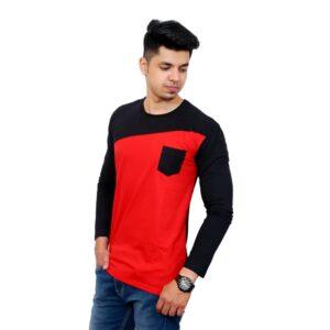 Full Sleeve Men Round Neck Black, Red T-Shirt