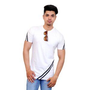 Color Block Men Round Neck White, Black T-Shirt