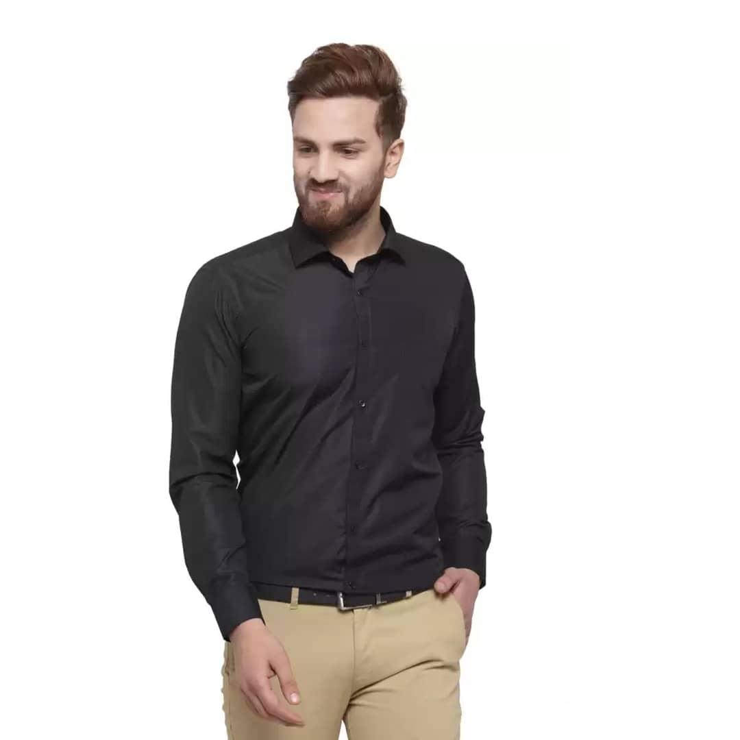 Men Slim Fit Solid Button Down Collar Formal Shirt