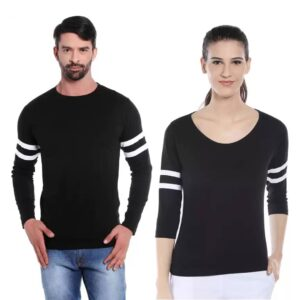 Solid Couple Round Neck Black T-Shirt