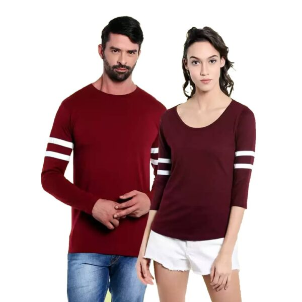 Solid Couple Round Neck Maroon T-Shirt