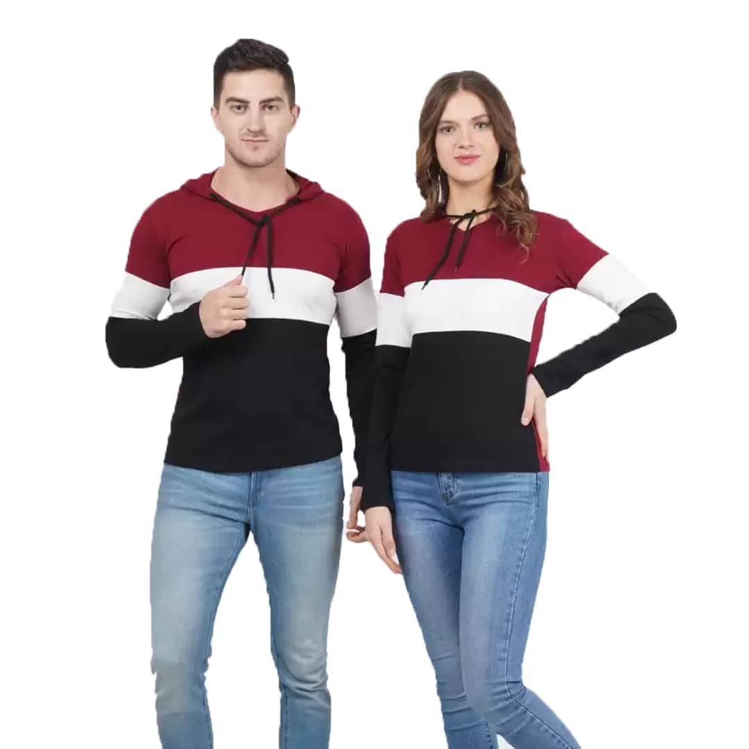Couple Hooded Neck Maroon and White Color T-Shirt