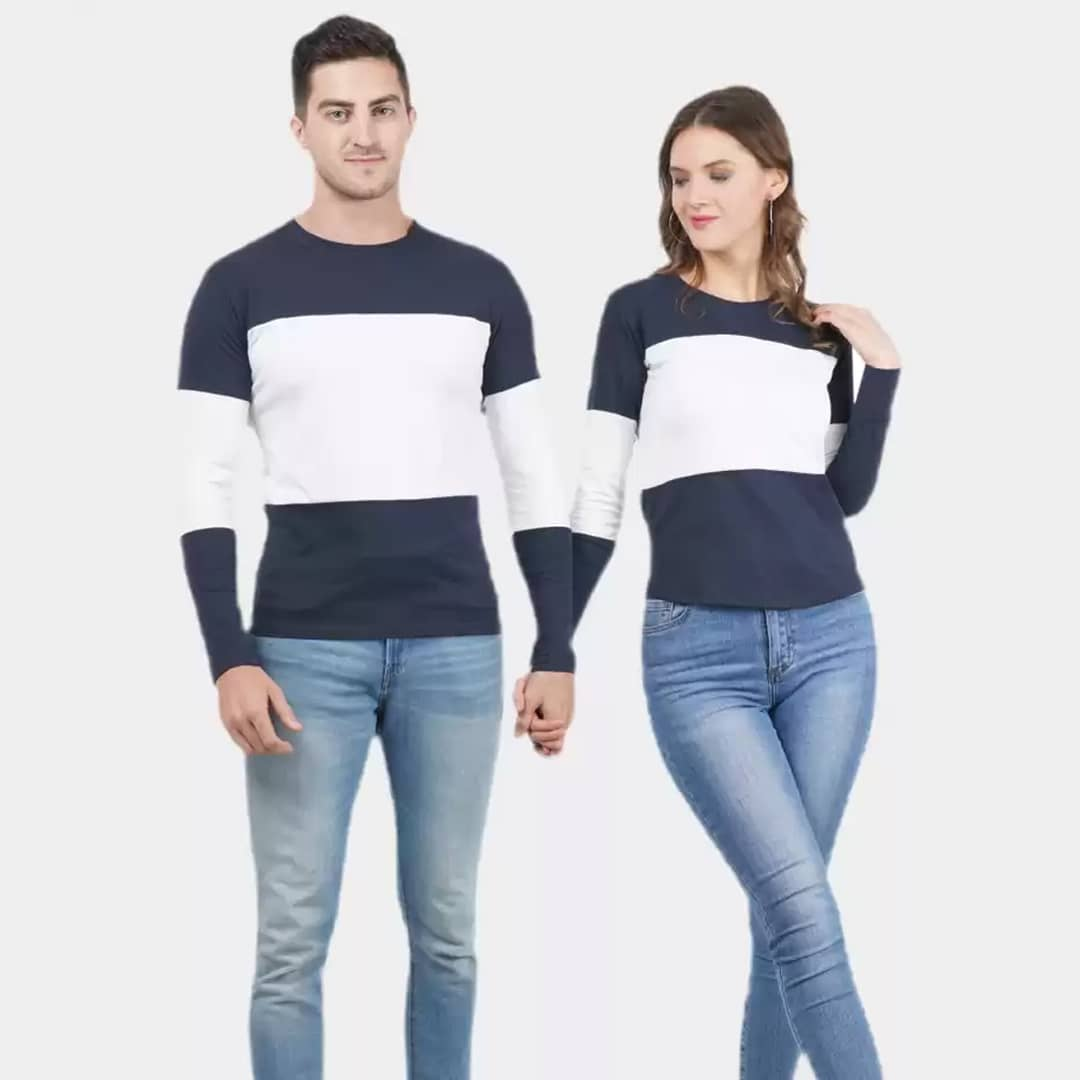 Couple T-Shirt Navy and White Color T-Shirt