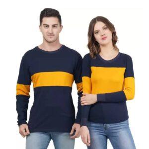 Color Block Couple Round Neck Multicolor T-Shirt