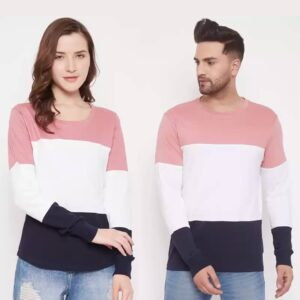 Couple Round Neck Multicolor T-Shirt