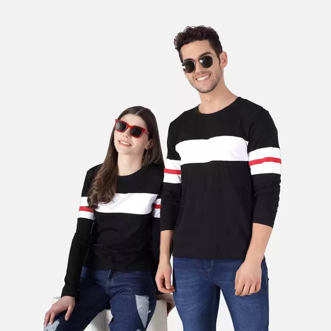 Color Block Couple Round Neck Blue, White T-Shirt