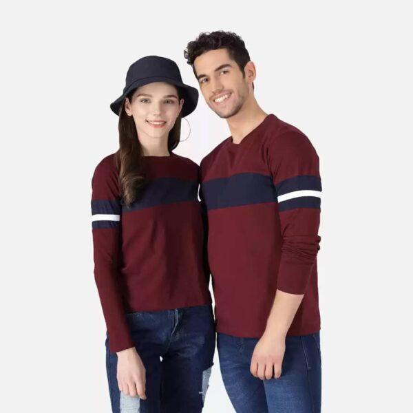 Color Block Couple Round Neck Maroon & Blacke T-Shirt