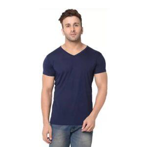 Solid Men V-Neck Navy Color T-Shirt