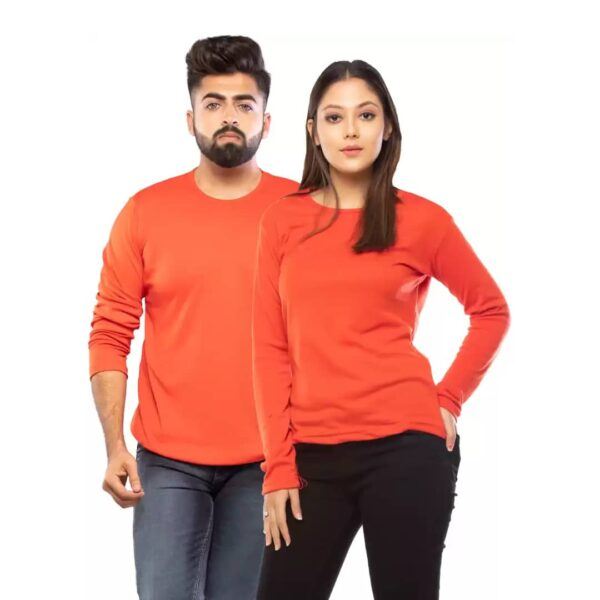 Couple Round Neck Full Sleeve Red T-Shirt