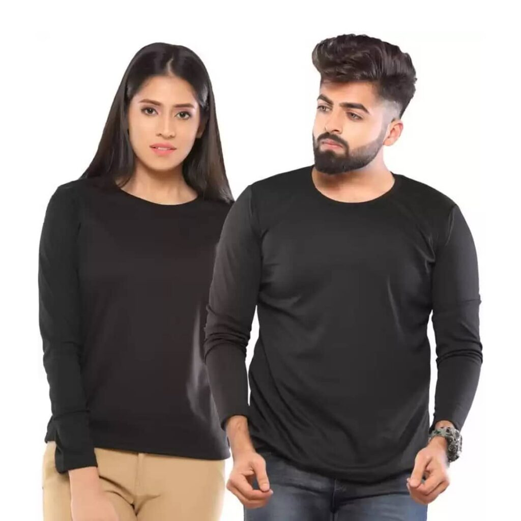 Couple Round Neck Full Sleeve Black Color T-Shirt