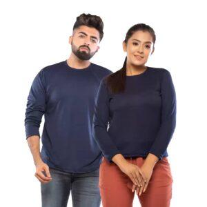 Couple Round Neck Full Sleeve Blue T-Shirt