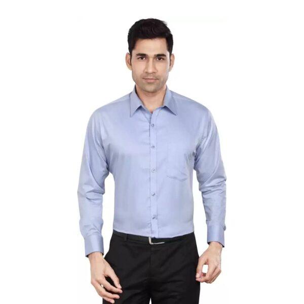 Men Slim Fit Solid Spread Collar Formal Shirt