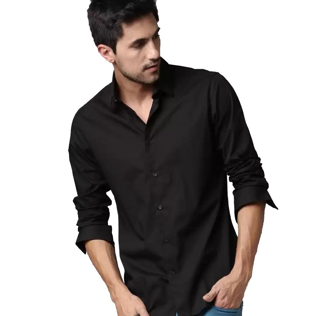 Men Solid Slim Spread Collar Casual Shirt Black