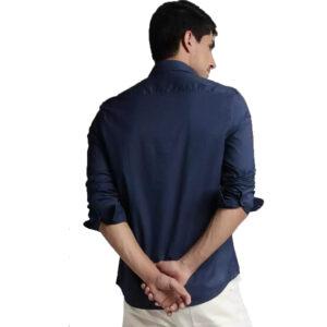 Men Solid Slim Spread Collar Casual Shirt Navy Blue
