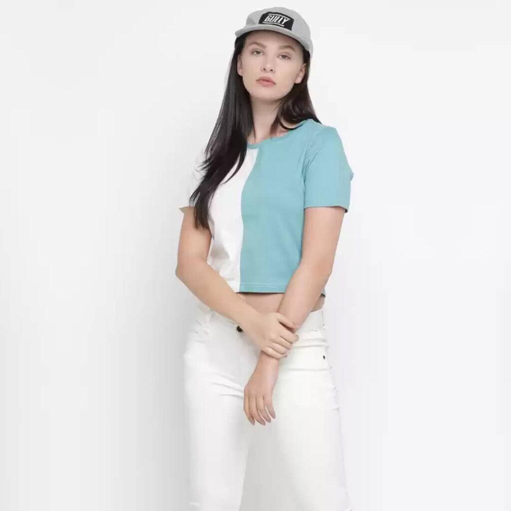 Color Block Women Round Neck Blue-White T-Shirt