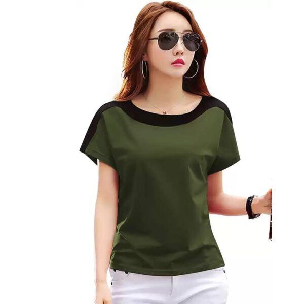 Women Solid Round Neck Green T-Shirt