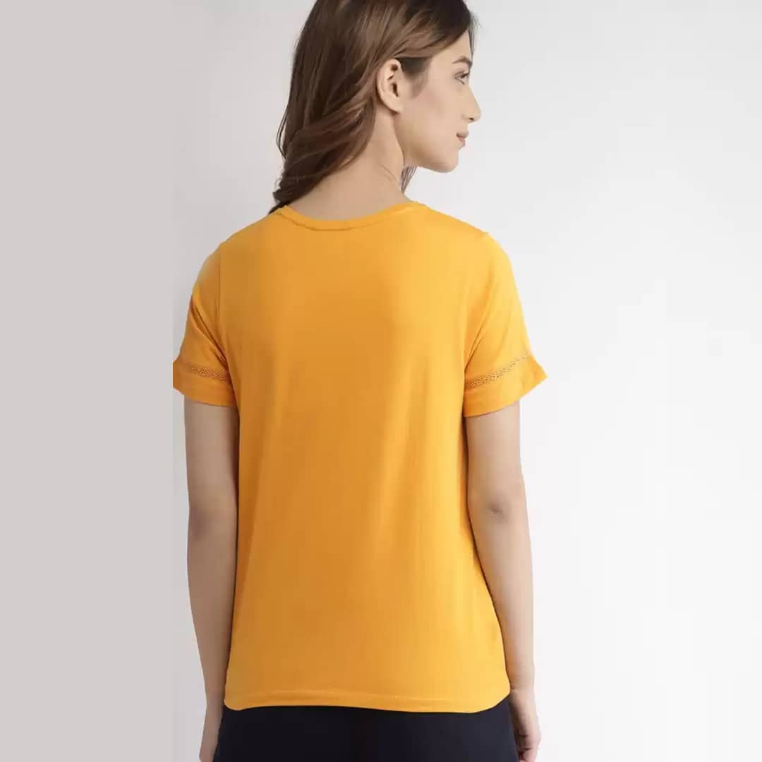 Solid Casual Regular Sleeves Women Yellow Top Back