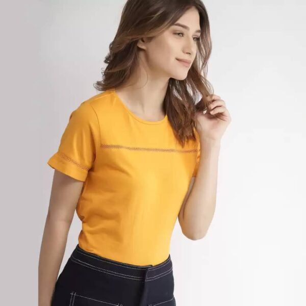 Solid Casual Regular Sleeves Women Yellow Top