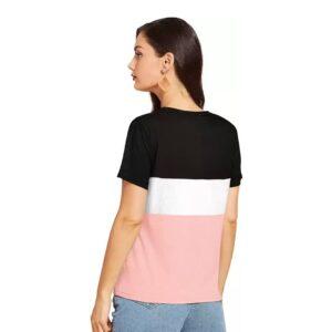 Printed Casual Regular Sleeves Women Multicolor Top Back Sid