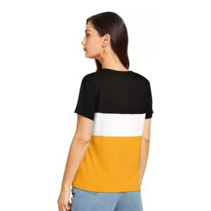 Printed Casual Round Neck Women Yellow Top