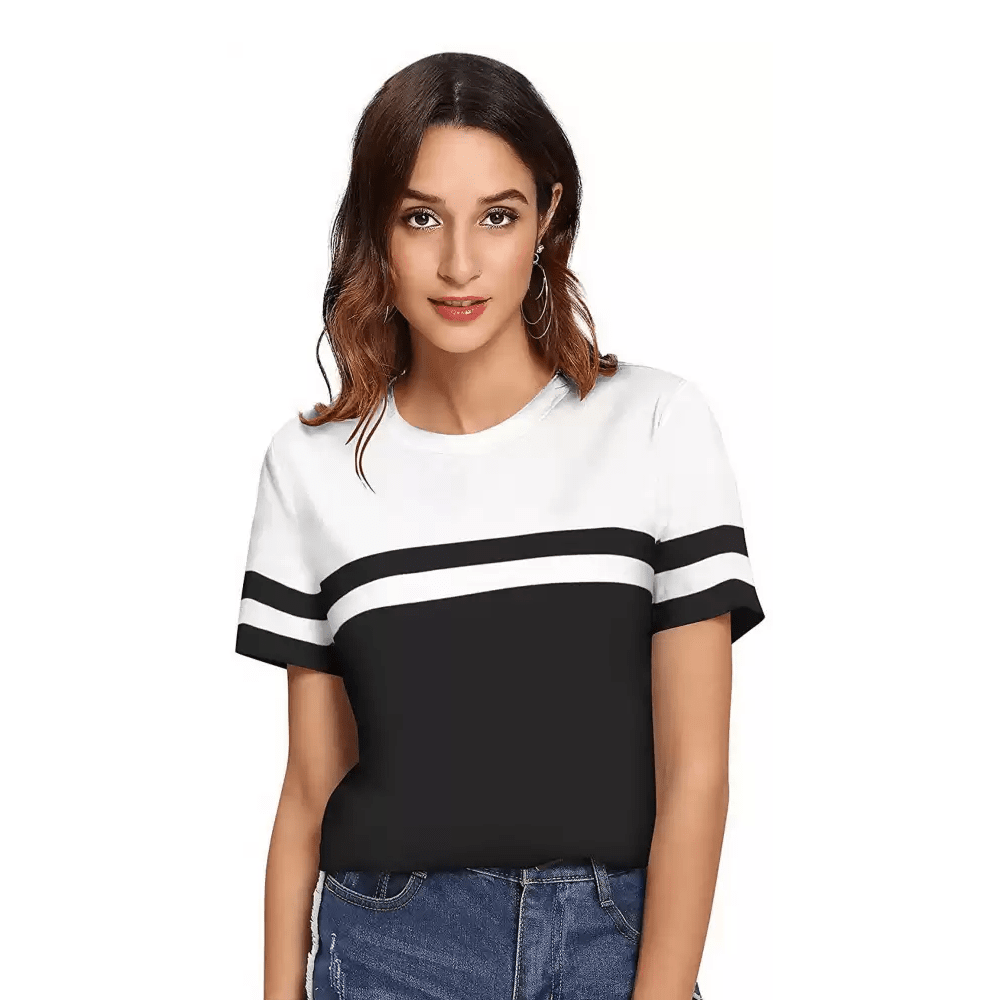 Color Block Women Round Neck White and Black T-Shirt