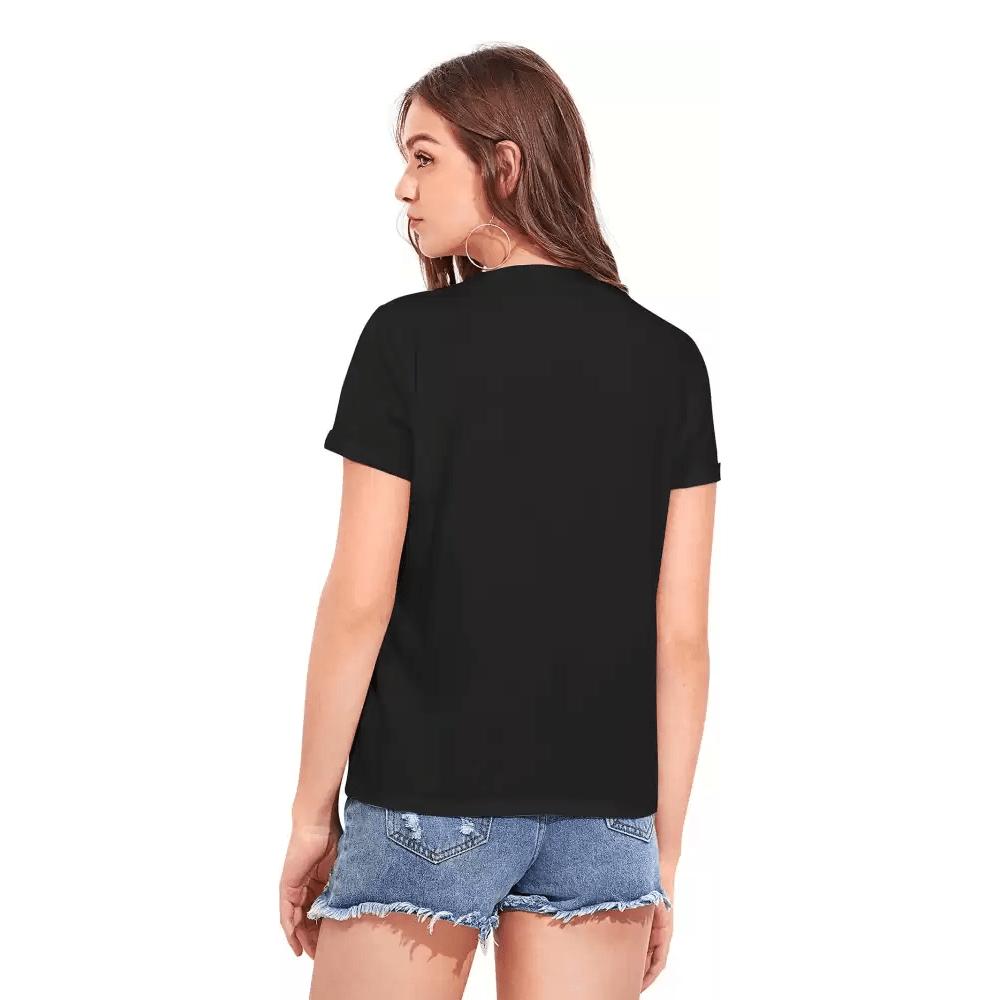 Printed Women Round Neck Black T-Shirt