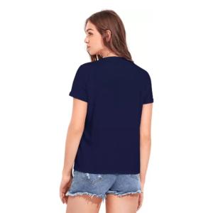 Printed Women Round Neck Navy T-Shirt