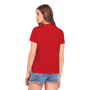Printed Women Round Neck Red T-Shirt