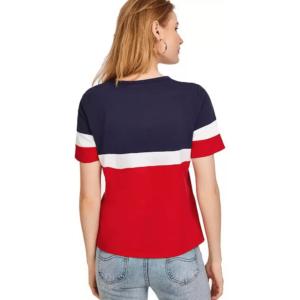 Color Block Women Round Neck Multicolor T-Shirt