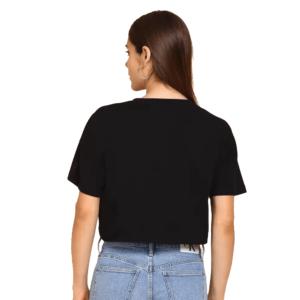 Embossed Women Round Neck Black Crop T-Shirt