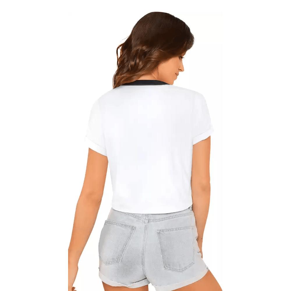Typography Women Round Neck White Crop T-Shirt