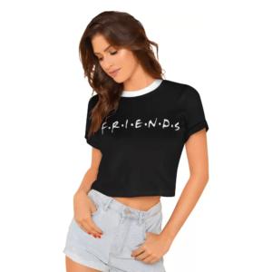 Typography Women Round Neck Black Crop T-Shirt