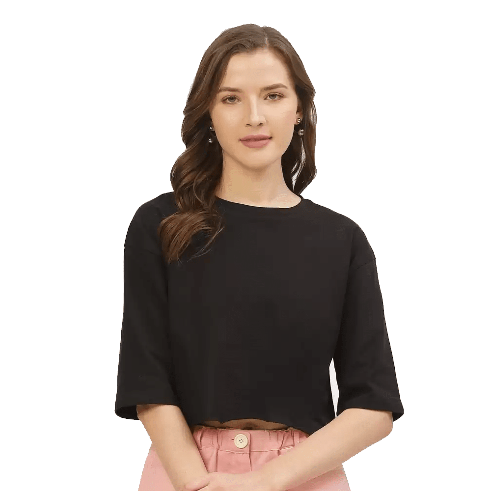 Solid Women Round Neck Black Crop and Boxy T-Shirt