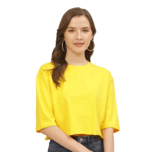 Solid Women Round Neck Yellow Crop and Boxy T-Shirt