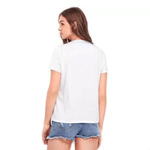 Printed Women Round Neck White T-Shirt