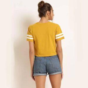 Solid, Color Block Women Round Neck Dark Mustard Crop T-Shirt