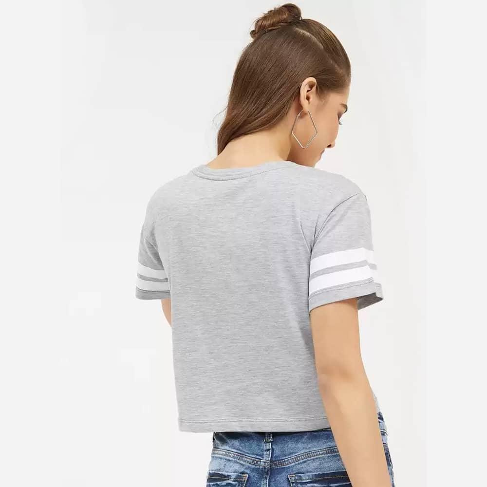 Solid, Color Block Women Round Neck Dark Gray Crop T-Shirt