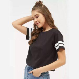 Solid, Color Black Women Round Neck Dark Black Crop T-Shirt